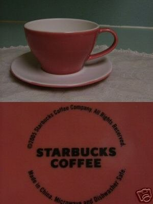 STARBUCKS Set of 2 Valentine CUPS & SAUCERS New 2006