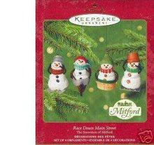 2000 Hallmark 4 MITFORD SNOWMEN Race Down Main Street Jan Karon Ornaments