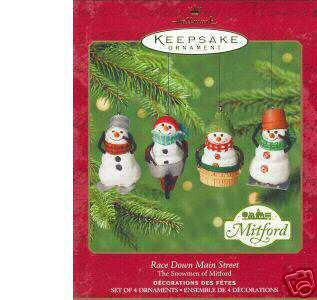 2000 Hallmark 4 MITFORD SNOWMEN Race Down Main Street Jan Karon Ornaments