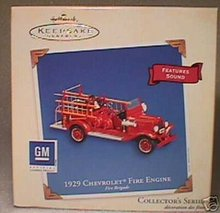 1929 Chevrolet Fire Engine #1 Hallmark Sound Ornament 2003