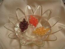 Autumn Fall Floating Candles w/ Glass Petal Bowl Hallmark