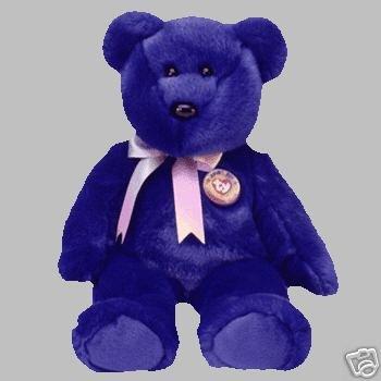Ty CLUBBY ONE 1 royal blue Bear Beanie Buddy