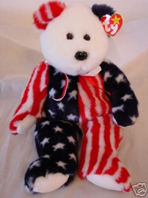 Ty Spangle Beanie Buddy Bear Retired Patriotic America