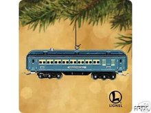 New! LIONEL Blue Comet Passenger Car~Hallmark 2002 Ornament~LIGHTS UP~Train