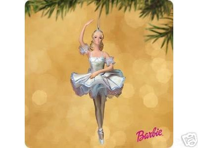 Barbie as SNOWFLAKE Nutcracker Ballerina Porcelain Hallmark Ornament 2002