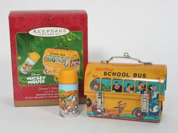Hallmark Disney's School Bus Lunchbox Ornament +Thermos Lunch Box