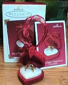 OUR FIRST CHRISTMAS TOGETHER 2002 Rings Hallmark Ornament