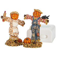 Deptartment 56 Lighted Halloween Scarecrows~Set of 2~Dept 56