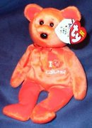 Ty Knotts Berry Farm Exclusive I LOVE CALIFORNIA Beanie Baby Bear Knott's