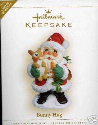 BUNNY HUG Santa & Rabbit Hallmark 2006 Ornament