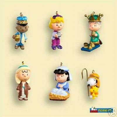 Set of 6 PEANUTS GANG Christmas Pageant Nativity~ Miniature Ornaments
