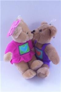 NEW! Valentine's Day set of 2 KISS KISS Plush BEARS~Hallmark