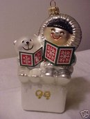 FROSTY FRIENDS Blown Glass 1980 Replica First~Hallmark Ornament 1999