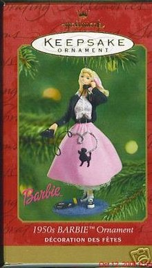 Hallmark 1950s BARBIE 2001 Ornament POODLE SKIRT 1950's