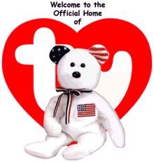 Ty White AMERICA Beanie Baby Bear