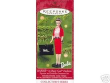 Barbie as Busy Gal Fashion w/ Portfolio 2001 Hallmark set of 2 Ornaments