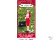 Barbie as Busy Gal Fashion w/ Portfolio 2001 Hallmark set of 2 Ornaments