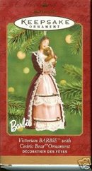 VICTORIAN BARBIE w/ CEDRIC BEAR~ PORCELAIN Hallmark 2001 Ornament