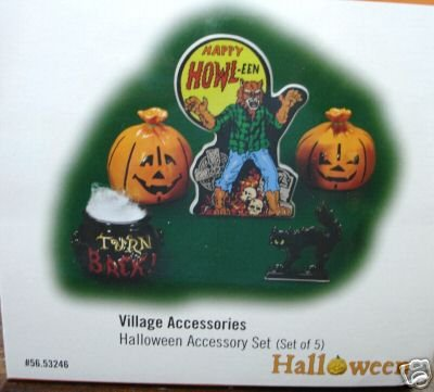 Department 56~Village Halloween Accessory Set of 5~Dept 56~Black Cat, Werewolf, Pumpkins,etc