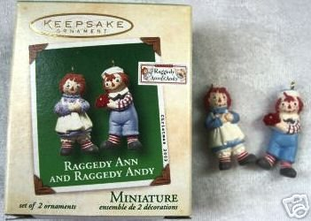 Raggedy Ann & Andy Hallmark Set of 2 Miniature Ornaments~2002~Unused