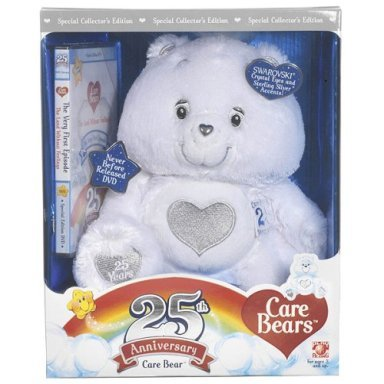 Care Bears 25th ANNIVERSARY Plush White Bear+DVD~SILVER Edition~SWAROVSKI CRYSTALS~in BOX