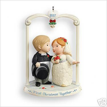 MARRIED & MERRY~Bride/Groom~Hallmark Ornament 2007