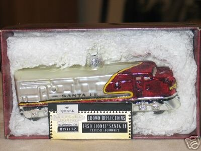 Lionel 1950 Santa Fe Locomotive~Blown Glass 1999 Hallmark Christmas Train Ornament~Crown Reflections