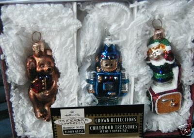 CHILDHOOD TREASURES~Blown Glass 1999 Hallmark Set of 3 Ornaments~Crown Reflections