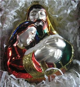 THE HOLY FAMILY~Blown Glass 1999 Hallmark Ornament~Crown Reflections