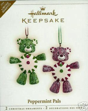 2006 Hallmark Ornament PEPPERMINT PALS Limited Quantity~Set of 2 Candy Bears