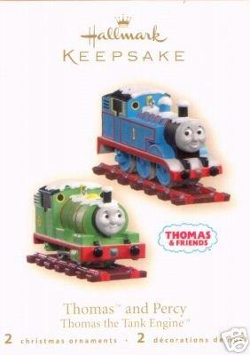 THOMAS the TANK ENGINE & PERCY~2 Hallmark Train Christmas Ornaments 2007