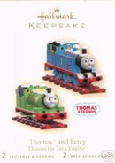 THOMAS the TANK ENGINE & PERCY~2 Hallmark Train Christmas Ornaments 2007