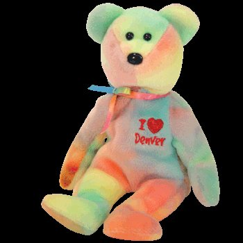 Ty I LOVE DENVER Beanie Baby Ty-dyed