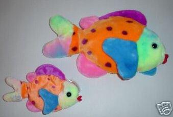 Ty  LIPS the FISH~ Multicolored Beanie Baby & Buddy~2  Plush FISH -Mint!
