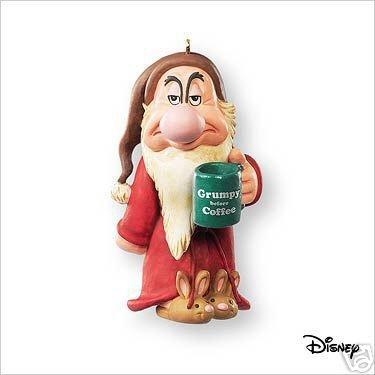 GRUMPY BEFORE COFFEE Disney Snow White Ornament~Hallmark 2007