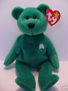 Ty ERIN Beanie Baby Bear~Irish Shamrock Green~NEW