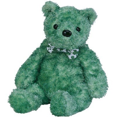 Ty LUCK-e Beanie Baby Bear~Irish Shamrock Green~NEW