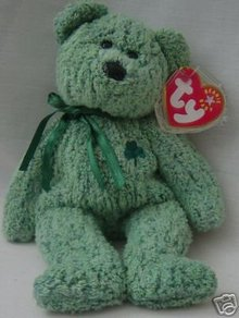 Ty SHAMROCK Beanie Baby Bear~Irish~Green~NEW