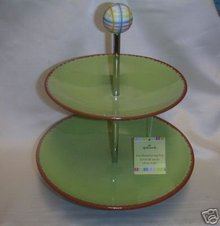 2 Tier Serving Tray Two-Tiered Platter Plate ~ Lovely! by Hallmark