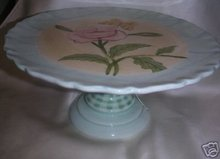 Hand Painted Pedestal CAKE PLATTER Plate Floral China Zrike