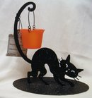 Halloween CAT TEALIGHT CANDLE HOLDER Decoration~Hallmark 2007