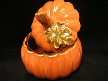 Halloween Ceramic Pumpkin Candy Box w/ Lid