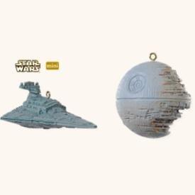 Star Wars THE DEATH STAR and STAR DESTROYER~2 Hallmark 2008 Mini Ornaments