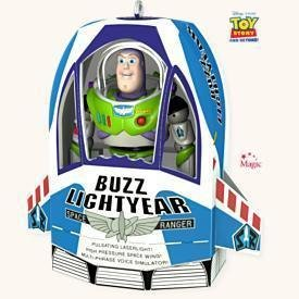 2008 Hallmark  BUZZ IN THE BOX~Sound Ornament~Buzz Lightyear~Toy Story~Disney/Pixar