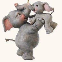 2008 Hallmark PLAYING AIRPLANE~Mama & Baby ELEPHANTS