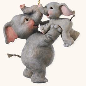 2008 Hallmark PLAYING AIRPLANE~Mama & Baby ELEPHANTS