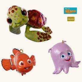 2008 Hallmark NEMO,SQUIRT and PEARL~Set of 3 Disney Christmas Ornaments