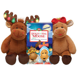 NEW! Build-A-Bear HAL & HOLLY Moose + Book~2008 Christmas