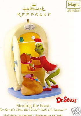 2008 Hallmark STEALING THE FEAST sound and light~Dr. Seuss Christmas Ornament