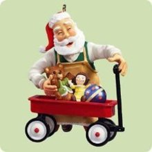 2004 Hallmark TOYMAKER SANTA~5th in Series~Christmas Ornament~Wagon